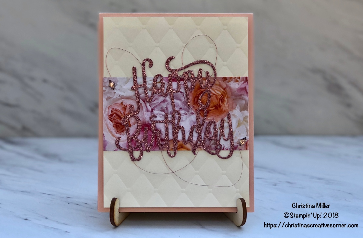 Quick and easy card with Happy Birthday Thinlits