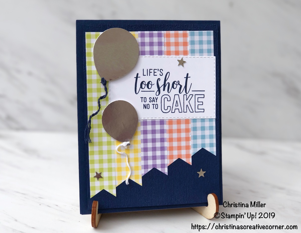Fun birthday card with Gingham Gala DSP