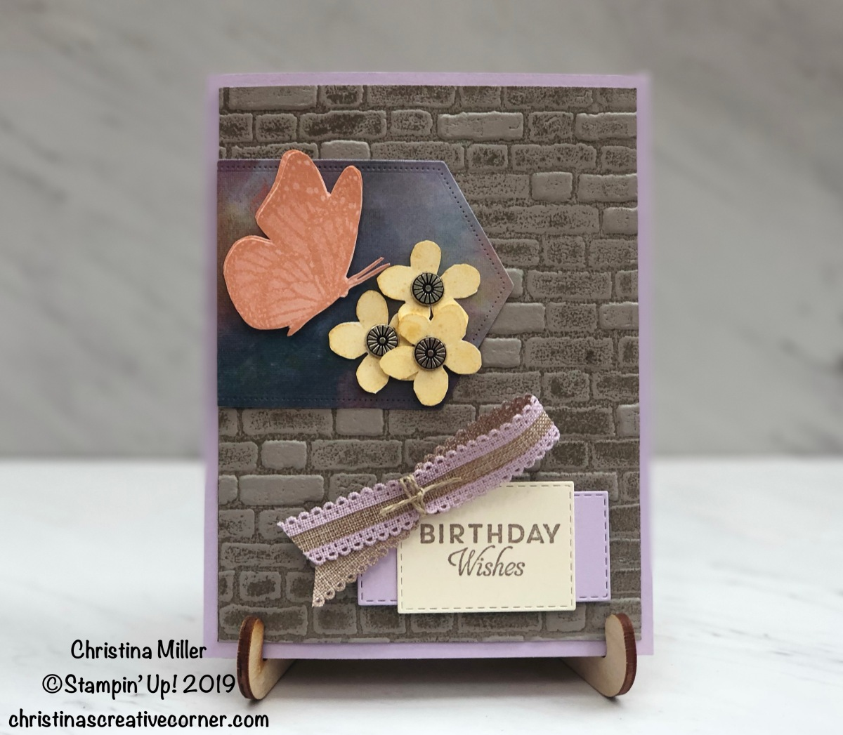 Butterfly Wishes card with the new Brick & Mortar 3D Embossing Folder