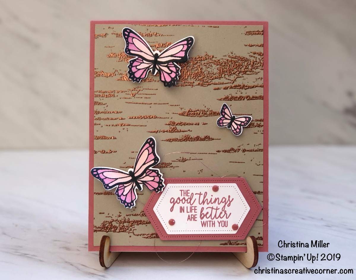 Heat embossing with the Birch Background Stamp!