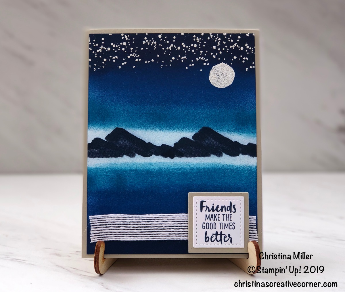 Shimmer nighttime card with Waterfront stampset