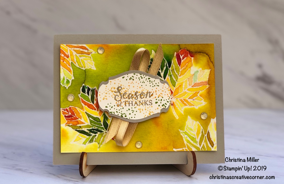 Fall theme card with Pigment Sprinkles and emboss resist technique