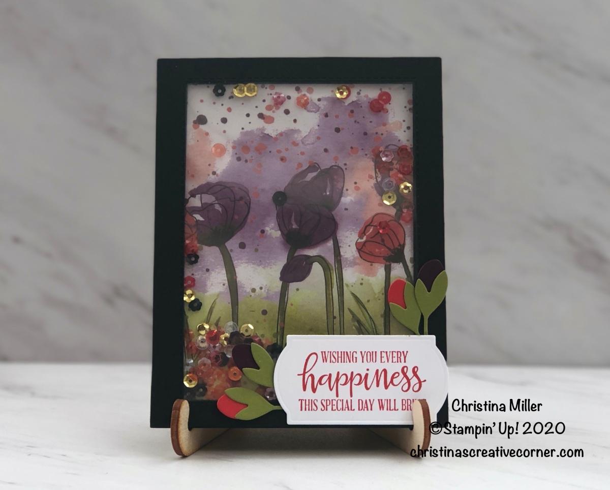 Peaceful Poppies Tri-Fold ShakerCard!