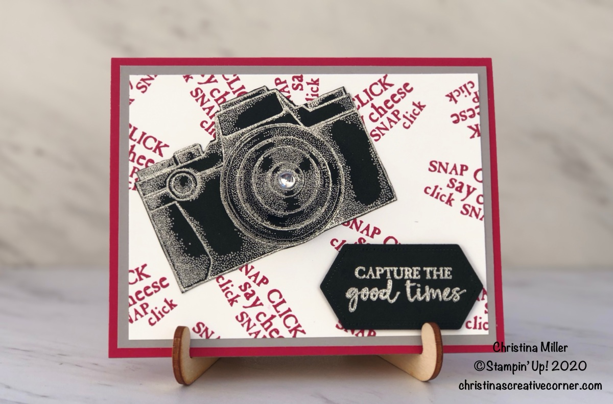 A fun pop-up camera lens card with Capture the Good