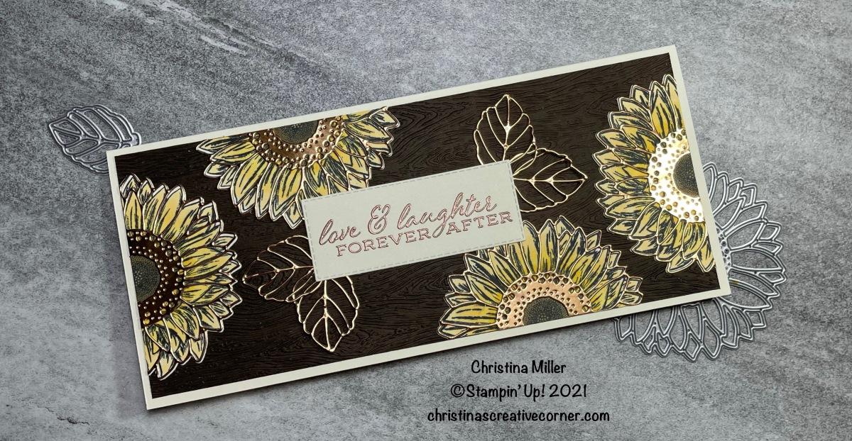 Celebrate Sunflowers Slimline WeddingCard